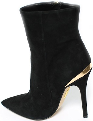 Suede bootie with gold trim