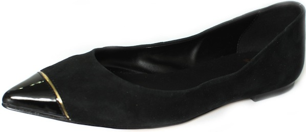 Pointed toe flat with patent cap-toe and gold trim