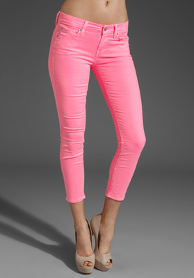 7 For All Mankind Crop Skinny in Hot Neon Pink