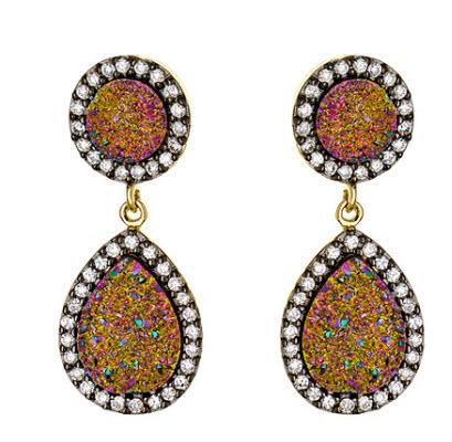 Andara Teardrop Druzy Rhodium and CZ Drop Earrings