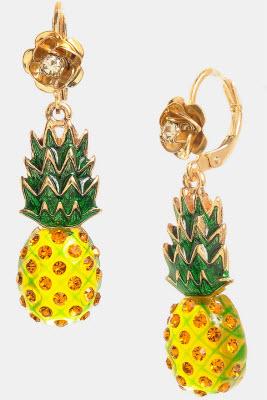 Betsey Johnson Rio Pineapple Drop Earrings