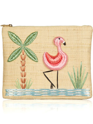 Charlotte Olympia Flamingo raffia clutch