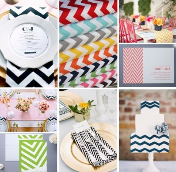 Chevron wedding invitations chevron decor chevron - Decoration table pour invites ...