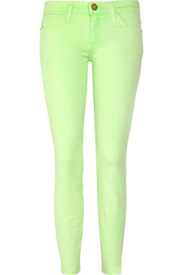 Current/Elliott The Stiletto Neon Cropped Low-Rise Skinny Jeans