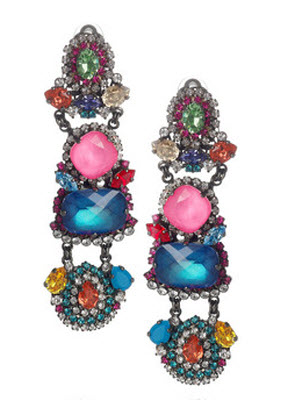 Erickson Beamon Modern Mughal Gunmetal Plated Swarovski Crystal Clip Earrings