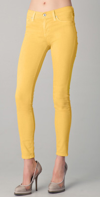 Hudson Nico Mid Rise Super Skinny Jeans in Lemon
