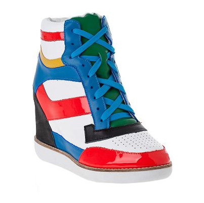 Jeffrey Campbell Napoles Wedge Sneaker White Multi