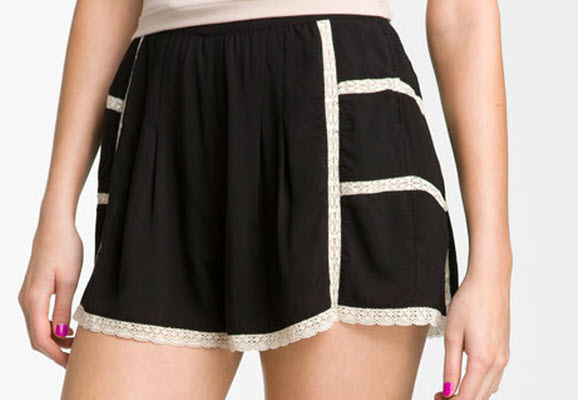Lily White Lace Trim Tap Shorts