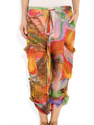 Matthew Williamson Tropical-print silk-mousseline pants