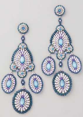 Miguel Ases Bead and Crystal Chandelier Earrings