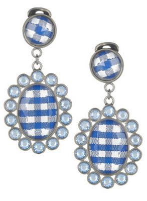 Miu Miu Gingham and Plexiglass Crystal Slip Earrings