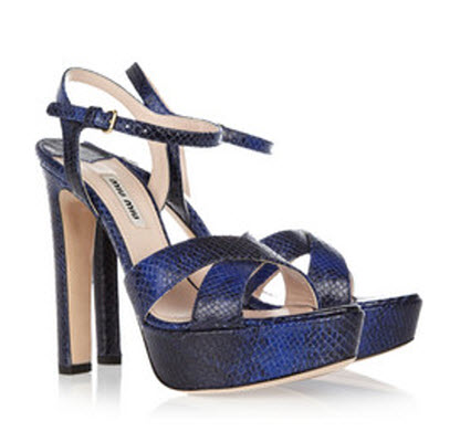 Miu Miu Watersnake-effect Leather Sandals