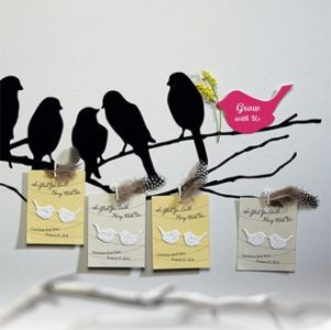 Personalized Seed Love Bird Favor Card