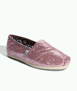 TOMS Classic Pink Glitter Slip-On