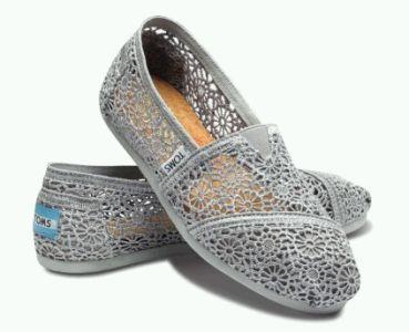 TOMS Silver Crochet Women's Classic Slip-Ons