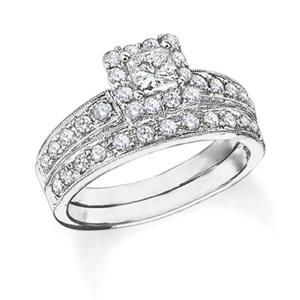 2 ct tw princess cut diamond bridal set in 14k white gold - Zales Wedding Rings On Sale
