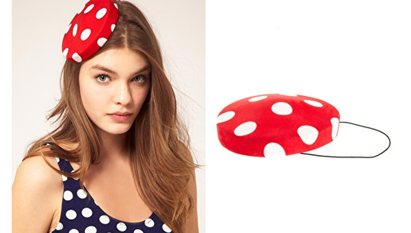 ASOS Red Polka Dot Pill Box Hat