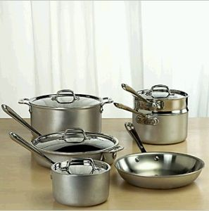 8. A full set of stainless steel pots and pans.