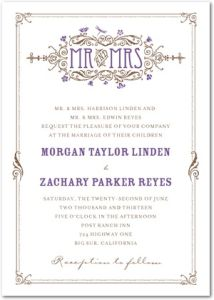 Artistic Deco Nutmeg Signature Letterpress Wedding Invitations