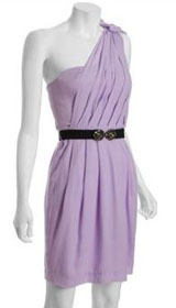 BCBGMAXAZRIA lavender mist chiffon one shoulder dress