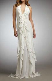 Carmen Marc Valvo Ruffle-Front Halter Gown