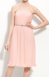 Donna Morgan Belted Pleated Chiffon Dress
