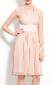 Donna Morgan Chiffon & Satin Halter Dress