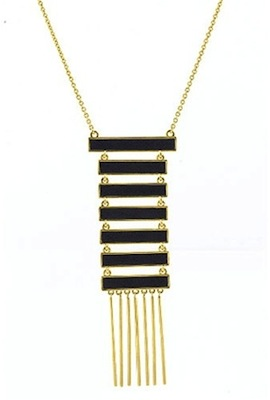 House of Harlow 1960 Black Leather Totem Pole Necklace