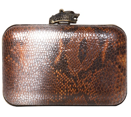 House of Harlow 1960 Marley Clutch in Silver/Rust Snake