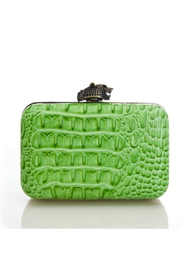 House of Harlow 1960 Marley Clutch in Lime Croc