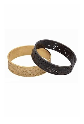 House of Harlow 1960 Pattern Bangle Set in Gold and Gunmetal