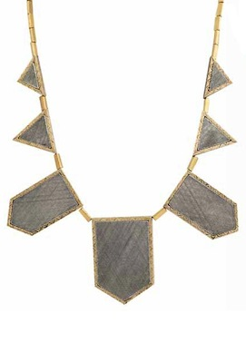 House of Harlow 1960 Two Tone Engraved Five Station Necklace
