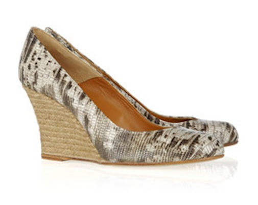 Lanvin Lizard-effect Leather Espadrille Wedges