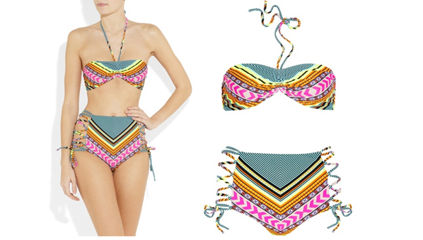 Mara Hoffman Printed Lace Up Bikini