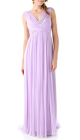 Marchesa Notte Silk Gown with Embroidered Bodice