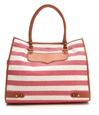Rebecca Minkoff Canvas Striped Diamond Tote