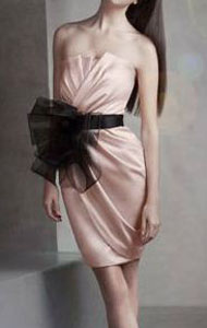 Short Draped Satin Dress with Sash Style