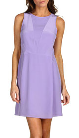 Silk CDC V-Neck Dress with Chiffon Combo