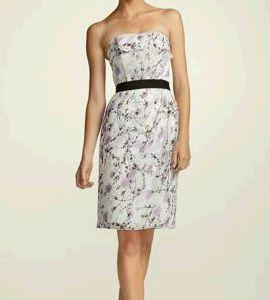 Strapless Crinkle Chiffon Floral Print Dress