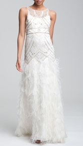 Sue Wong 'Feather' Beaded Gown