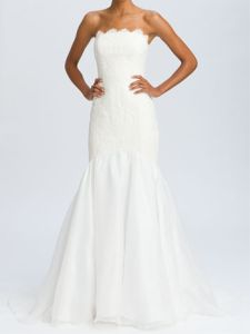 Theia Lace Overlay Strapless Mermaid Gown