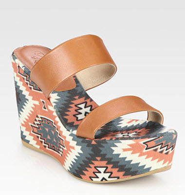Theodora & Callum Tribal Print Leather and Linen Wedge Sandal