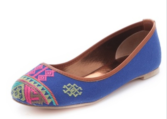 Twelth St. by Cythnia Vincent Sage Embroidered Balelt Flats