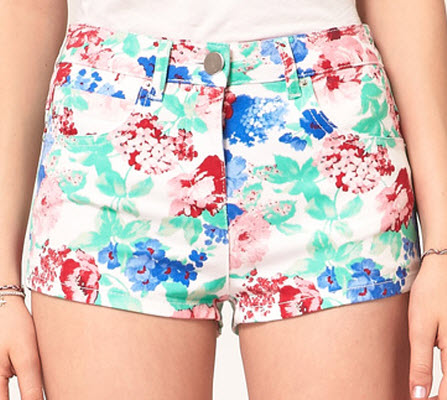 ASOS High Waisted Denim Hot Pants in Floral Print