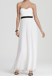 BCBGMAXAZRIA Gown Strapless Contrast Waist
