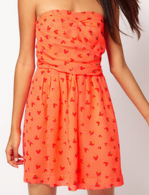 Bandeau Dress with Strawberry Print