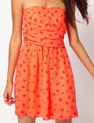 Bandeau Dress with Strawberry Print