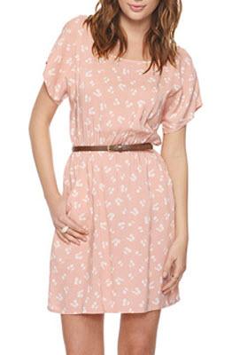 Belted Cherry Print Dress