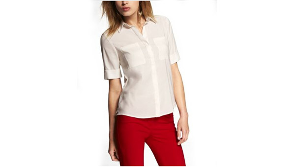 Express Short Sleeve 2-Pocket Boxy Fit Shirt