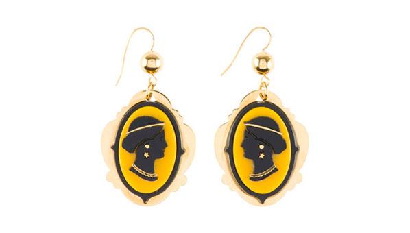 Miu Miu Cameo Earrings Yellow